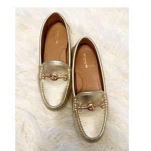 Coach metallic gold loafers